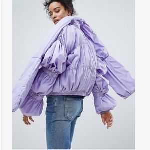 NWT ASOS lavender pleated puffer jacket